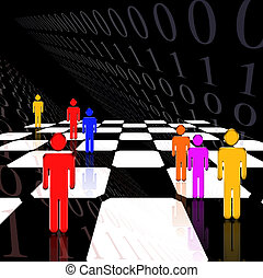 Striking image of figures on a chessboard and binary code