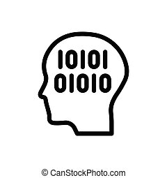 binary  thin line icon