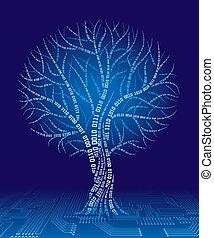 Binary tree - Tree consist of binary code. Eps8. CMYK....