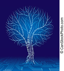 Binary tree - Tree consist of binary code. Eps8. CMYK. ...