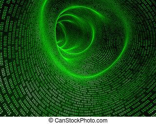 binary tunnel - 3d rendered illustration of a green digital...
