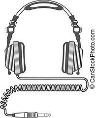 binda med rep, dj, skissera, stor, hörlurar, kontakt, vektor...