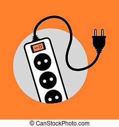 binda med rep, elektrisk, förlängning, ikon