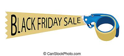bindemedel, ord, fredag, försäljning, band varuautomat, svart
