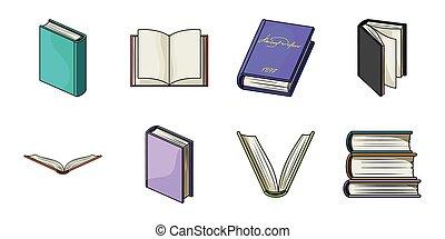 bindend, design., vector, boek, producten, bedrukt, set, web, liggen, verzameling, symbool, iconen, illustration.