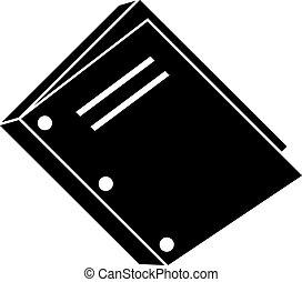 bindend, drie, punch, boek, gat, pictogram