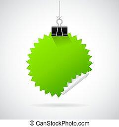 Binder and green sticker