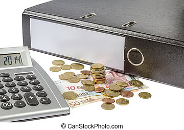 Binder Calculator and Currency - A Binder with blank lable,...
