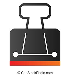 Binder clip flat icon. Metallic clamp symbol, gradient style pictogram on white background. Office or stationery item sign for mobile concept and web design. Vector graphics.