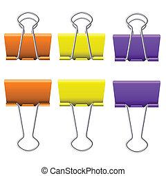 Binder clips - Color binder clips. Illustration on white...