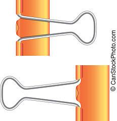 Binder clips. Orange paper clip. Real icon.