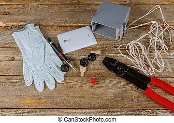 binder, elektrisk, knyta, isolering, plattång, kablar, kutter