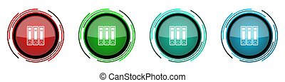 Binder round glossy vector icons, folder, document, file set of buttons for webdesign, internet and mobile phone applications in four colors options isolated on white background