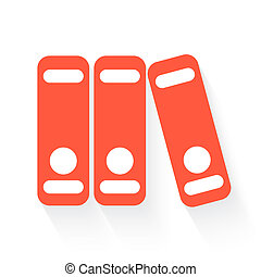 binders in orange with drop shadow on white