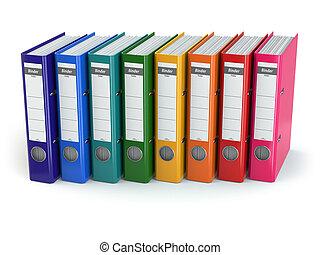 binders., oficina, fila
