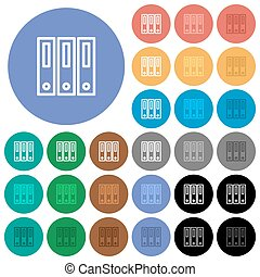 Binders round flat multi colored icons