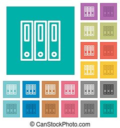 Binders square flat multi colored icons