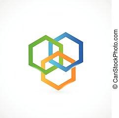 bindung, logo, abstrakt, chemie, wissenschaft