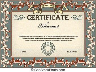 bindweed, 証明書, 型, フレーム, 装飾, ツタ