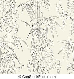Bindweed flower and bamboo. - Bindweed flower and bamboo...