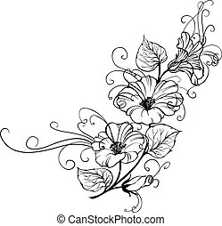 Bindweed flower isolated over white. Vector illustration.