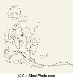 Bindweed flower pattern. Vector illustration.
