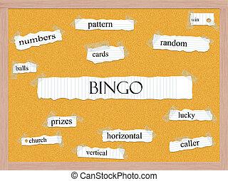 bingó, corkboard, szó, fogalom