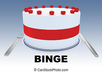 BINGE - behavioral concept - 3D illustration of a big cake ...