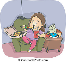 Binge Eating - Illustration of an Overweight Woman Going on...
