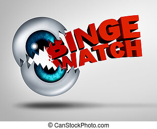 Binge watch concept and watching consecutive cable episodes of a television or TV series or multiple movie on demand as a marathon viewing of video media as a 3D illustration of a human eye ball shaped as a mouth binging and biting into text.