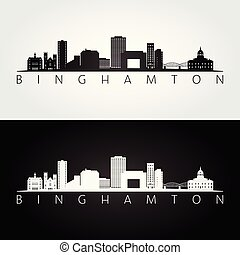 Binghamton, New York skyline and landmarks silhouette