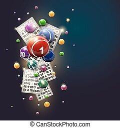 bingo, azul, bolas, desenho, fundo, cartões