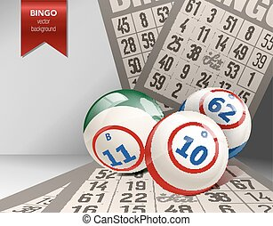 Bingo Background with Balls and Cards. Vector Illustration....
