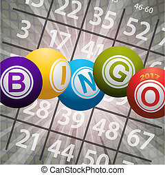 Bingo balls 2017 and numbers on abstract background
