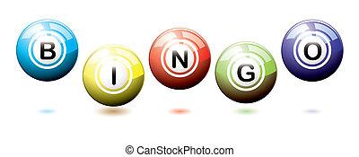 Bingo balls bounce - Set of brightly coloured bingo balls...