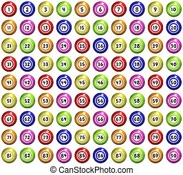 Bingo Balls - full set of 90 illustrated bingo balls