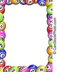 Illustration of a frame made of bingo balls