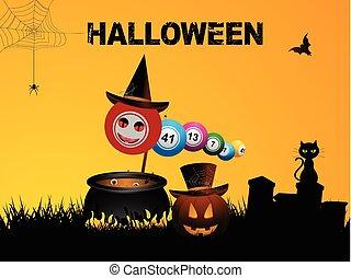 Bingo balls Halloween background