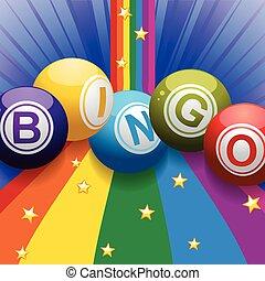 Bingo balls on rainbow