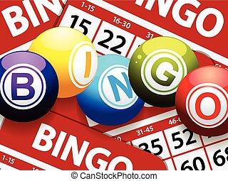Bingo balls over red bingo cards