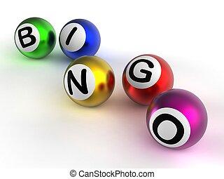 Bingo Balls Showing Luck At Lottery - Bingo Game Balls...