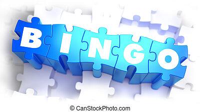 bingo, -, blanco, palabra, en, azul, puzzles.