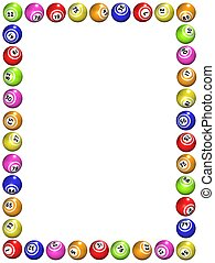 Illustrated frame made of bingo balls