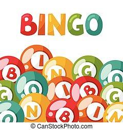 bingo, bolas, loteria, ilustração, jogo, ou