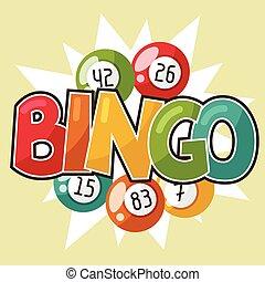 bingo, bolas, loteria, ilustração, jogo, retro, ou