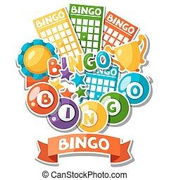 bingo, bolas, loteria, jogo, fundo, cartões, ou