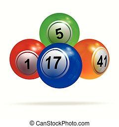 bingo, bolas, loteria, sobre, sombra, branca, 3d