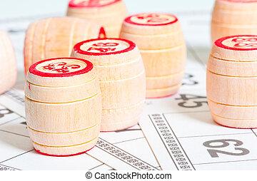 bingo cards and kegs closeup