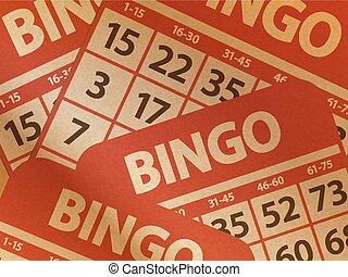 Bingo cards on brown paper