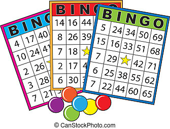 Bingo Cards - Three colorful bingo cards.